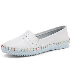 EnllerviiD - Genuine-Leather Slip-On Sneakers