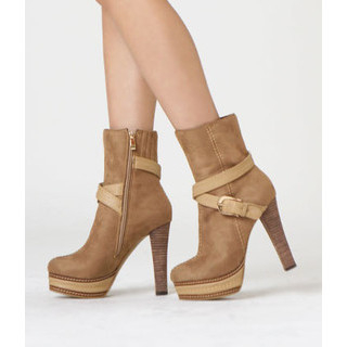 yeswalker - Faux Suede Platform  Ankle Boots