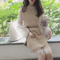 QZ Lady - Lace Panel Long Sweater
