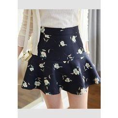 DEEPNY - Ruffle-Hem Floral Print Mini Skirt