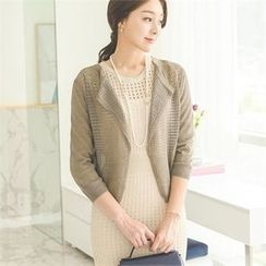 ode' - 3/4-Sleeve Open-Knit Cardigan