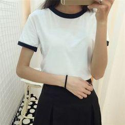 HotBlock - Slim-Fit Cropped Color-Block Short-Sleeve Top