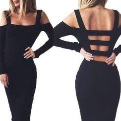 Rampi - Strappy Back Cold Shoulder Bodycon Dress
