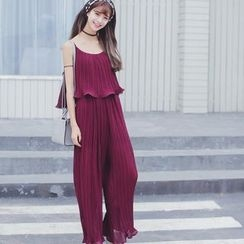 Deedlit - Strappy Pleated Chiffon Jumper Pants