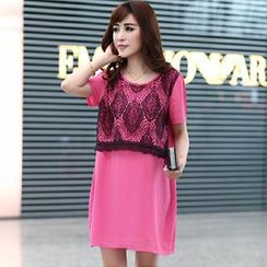 Mythmax - Short-Sleeve Lace Panel Dress