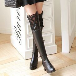 Gizmal Boots - Lace Panel Over-the-Knee Boots