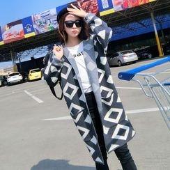 TIMI - Printed Hooded Long Cardigan
