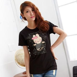 RingBear - Rabbit-Print Short-Sleeve T-Shirt