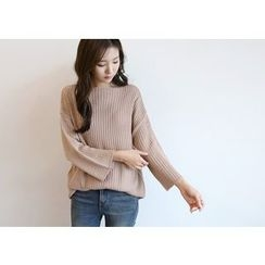 Hello sweety - Boat-Neck Rib-Knit Sweater