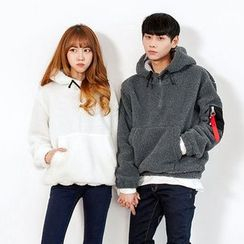 TOMONARI - Couple Zip-Pocket Hooded Fleece Anorak Pullover
