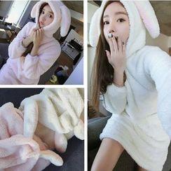 Glen Glam - Rabbit Flannel Hoodie Pajama Dress