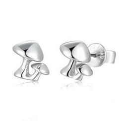 Bling Bling - Bling Bling Platinum Plated 925 Silver Mushroom Stud Earrings