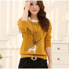Penguin Island - Frill Trim Deer Sequined Sweater