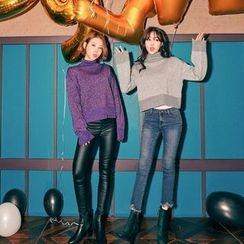 Seoul Fashion - Fringed Cutout-Hem Brushed-Fleece Lined Jeans