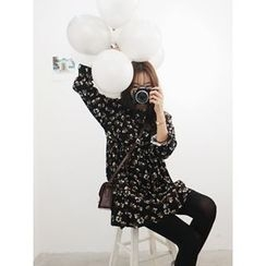 hellopeco - Round-Neck Floral-Patterned Dress