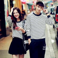 Evolu Fashion - Couple Matching Striped Pullover