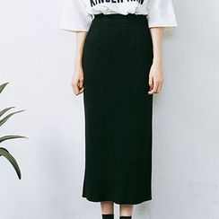 chuu - Rib-Knit Long Skirt