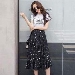 Queen Bee - Star Print Midi Chiffon Skirt