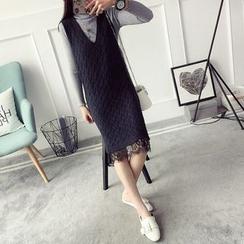 Qimi - Lace Hem V-Neck Knit Tank Dress