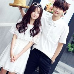 Tabla - Couple Matching Short-Sleeve Shirt / Lace Panel A-Line Dress