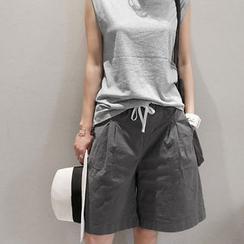 NANING9 - Linen Blend Drawstring-Waist Shorts