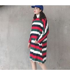 MATO - Striped Long Sleeve T-Shirt Dress