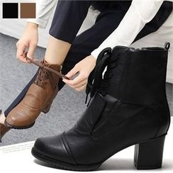 Reneve - Chunky-Heel Lace-Up Short Boots