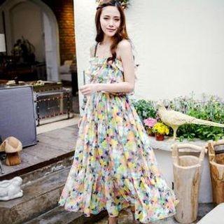 Elegant Queen - Ruffled Floral Chiffon Strappy Dress