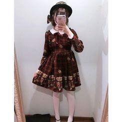 GOGO Girl - Contrast Collar Long-Sleeve Print Dress