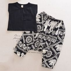 OLMO - Family Matching Set: Plain Short-Sleeve T-Shirt + Harem Pants