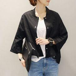 NANING9 - Linen Blend 3/4-Sleeve Jacket