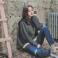 Styleberry - Turtle-Neck Contrast-Trim Rib-Knit Sweater