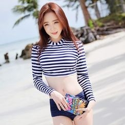 Blue Lagoon - 2-piece Long-Sleeve Stripe Swimsuit