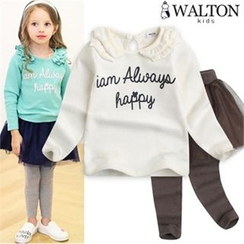 WALTON kids - Girls Set: Lettering Top + Inset Mesh Skirt Leggings