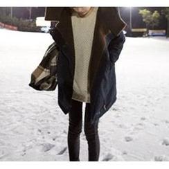 Angel Shine - 羊羔毛斜拉鏈中長款棉衣外套