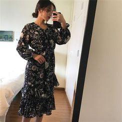 QZ Lady - Long-Sleeve Floral Tiered Midi Dress