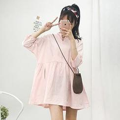 Cloud Nine - 七分袖V领连衣裙