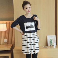 Carna - Maternity Set: Lettering Long Sleeve Top + Striped Nursing Tank Dress