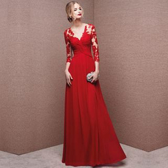 Gracia - Lace-Panel 3/4-Sleeve A-Line Evening Gown