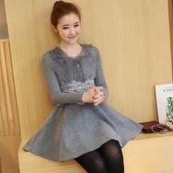 Yumerakka - Long-Sleeve Knit Panel Woolen A-Line Dress