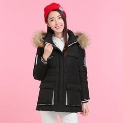 Pipafellow - Furry-Trim Hooded Embroidered Zip Coat
