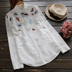 YOYO - Embroidered Long-Sleeve Blouse