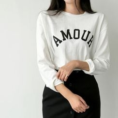 UPTOWNHOLIC - Round-Neck Lettering Top