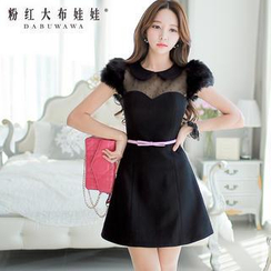 Dabuwawa - Mesh-Yoke A-Line Party Dress
