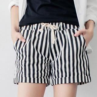 Tokyo Fashion - Drawstring-Waist Striped Shorts