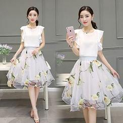 Ashlee - 套裝: 短袖雪紡上衣 + 碎花中裙