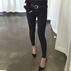 LIPHOP - Fray-Hem Skinny Jeans