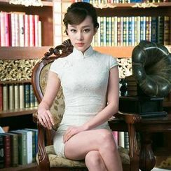 Miss Four Qipao - Cap-Sleeve Lace Cheongsam