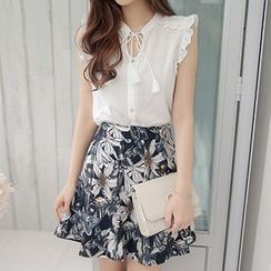 Ashlee - Set: Frill Trim Tasseled Chiffon Top + Floral Print Skirt