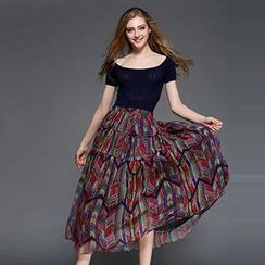 Memory Lane - Set: Short-Sleeve Knit Top + Print Maxi Skirt